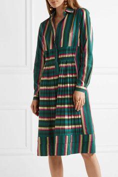Etro - Pleated Striped Cotton-blend Dress - Green - IT50
