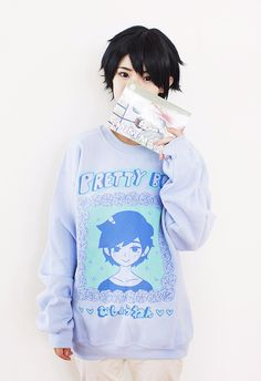 """Original design by the artist OMOCAT screen-printed on a UNISEX cotton polyester crewneck sweater. Text reads """"びしょうねん,"""" or """"pretty boy."""" of proceeds Pastel Goth Fashion, Kawaii Fashion, Boy Fashion, Fashion Outfits, Harajuku Mode, Harajuku Fashion, Boy Outfits, Cute Outfits, Boys Sweaters"""