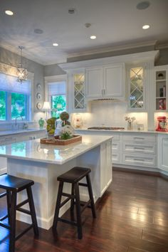 Traditional Style Home Designed By Madison WI Residential Designer Udvari Solner Design Company In Harlan Hills White Cabinets Gray Granite Red Details