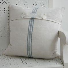 blue stripe grain sack cushion