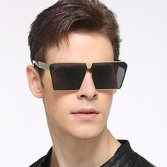 5d63d78f5ff Men Women Oversized Steampunk Square Sunglasses New Fashion Large Clear  Lens Met