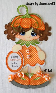 Girls Pumpkin Fall Paper Piecing PreMade 4 Borders Scrapbook Album danderson651 in Crafts, Scrapbooking & Paper Crafts, Scrapbooking Pages (Pre-made)   eBay
