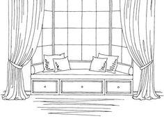 Bay window graphic black white interior sketch illustration vector - Bay window graphic black white interior sketch illustration vector Sie sind an der richtigen Stelle - Architecture Drawing Art, Drawing Interior, Interior Paint, Classical Architecture, Interior Design Videos, Interior Design Sketches, Window Sketch, Window Drawings, Black And White Interior