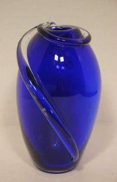 Midnight Blue Murano Art Glass Vase Hand Blown  http://stores.ebay.com/beachcats-bargains  beachcats bargains
