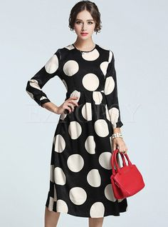 Shop for high quality Contrast Dot Print Long Dress online at cheap prices and discover fashion at Ezpopsy.com