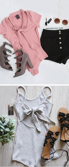 """Tickle me pink! This Tie Neck Ribbed Bodysuit is the perfect touch of classy and feminine. Features a tie neck neckline, ribbed body, short sleeves and snap closures. Bodysuit measures 25"""" from shoulder to bottom hem. Pair with an a-line denim skirt and pointy toe heels for a classic Parisian inspired look."""