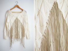 fringed knit top DIY