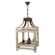 Its square frame with iron accents and a distressed painted finish the Farmhouse Lantern is one of our most popular light fixtures. From rustic to contemporary, this statement-making hanging light fix