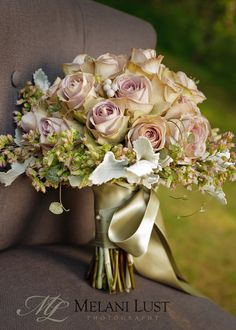 { Wedding Bouquets }  / Soft roses w/sage ribbon by Erin Ostreicher, Westport, CT, erinostreicher.com. ©MelaniLustPhotography
