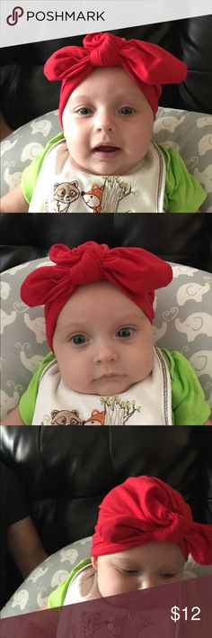 Red Baby Turban One size, 0-9mo, New. Super adorable bright red baby Turban. Accessories Hair Accessories