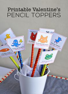 Printable Pencil Toppers from Valentine& Day- print these fun animal toppers for gifts. Cute Valentines Day Ideas, Kinder Valentines, My Funny Valentine, Valentine Day Love, Valentine Day Crafts, Valentine Stuff, Valentine Theme, Valentine Activities, Printable Valentine