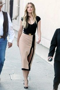 Amber Heard in a look from the Michael Kors pre-spring/summer 2013 collection worn with Christian Louboutin heels.