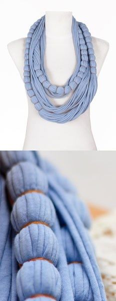 Jewerly Store Design Ideas Accessories For 2019 Yarn Necklace, Fabric Necklace, Scarf Jewelry, Textile Jewelry, Fabric Jewelry, T Shirt Necklace, Knot Necklace, Jewellery, Scarf Shirt