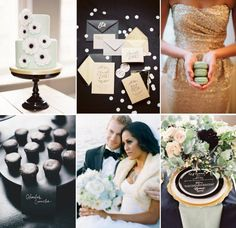 Here's an idea that actually works with any 4th accent color - use Black, White & Gold with your additional color. Blush Pink, Tiffany Blue, plum, or? Wedding Colors Gilded Black Tie with Cool Mint Green Inspiration