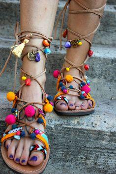 Gladiator sandals Diara greek hippie Style by DimitrasWorkshop