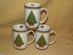 MARYANN BAKER MUG OTAGIRI CUP SET 3 GOLD TRIM CHRISTMAS TREE WREATH CHRISTMAS