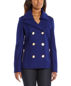 Another great find on #zulily! Dark Lapis Double-Breasted Pea Coat #zulilyfinds