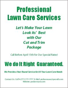 Lawn Care Flyer Free Template   Lawn Care Business Marketing Tips ...