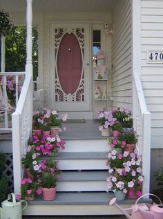 Love the storm door and the pink front door