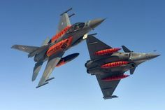 Greek and French Rafale flying together during NATO Tiger Meet 2016 Fighter Aircraft, Fighter Jets, Air Tiger, Hellenic Air Force, Flying Together, F 16, Military Aircraft, High Quality Images, Aviation