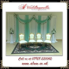 A1 Weddingwalla offer decorative chairs for #wedding, #reception, #engagement  and more. For booking call us at 07958 330043. #stagedecoration #mandapdecoration #mehndistage