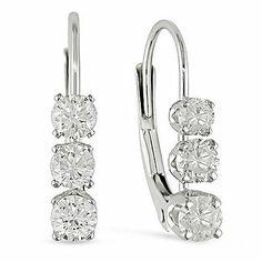 1/2 CT. T.W. Diamond Three Stone Leverback Earrings in 14K White Gold #Zales #DropDangle