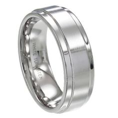 Men's 8mm Comfort Fit Classic White Tungsten Wedding Ring with Satin Finish Center and Polished Edges JustMensRings http://www.amazon.com/dp/B00E1ROOKK/ref=cm_sw_r_pi_dp_9FHVtb03NG7KFVBK