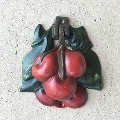 Old Vintage Cast Iron Painted Cherries Door Knocker L1217
