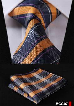 Orange and Blue Tartan Tie and Pocket Square Pocket Square Guide, Pocket Square Styles, Tie And Pocket Square, Pocket Squares, Sharp Dressed Man, Well Dressed Men, Suit Fashion, Mens Fashion, Tartan Tie