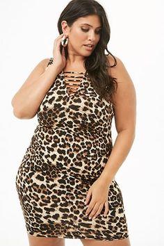 215b8157998c1 Plus Size Leopard Print Ladder Cutout Mini Dress