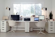 Ikea hacked faux built-ins double desk. Love the sun-filled & fresh Scandinavian style office!
