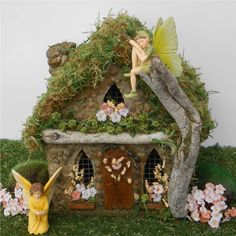 A miniature garden Peach Tree fairy house for your enchanted fairy gardens.