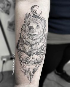 super cool bear and moon tattoo idea by @bicavalheiro