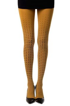 """""""Lady Bug"""" Polka dot patterned Tights in Mustard Yellow"""
