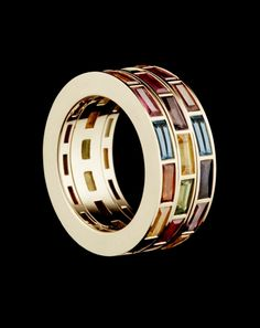 RUBIX RING - 18ct Fairtrade Fairmined gold and precious stones Three kinetic rotating bands. Hattie Rickards