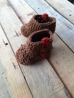 Baby Booties Boots Handmade Gift Brown Cinnamon by MimisPearTree