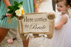 here come the bride sign #beach wedding. I love the material