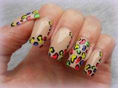 Neon leopard print mani - look on my board Nail Polish Tutorial/Education for how to directions on this one. Leopard Nail Designs, Leopard Nails, Neon Nail Art, Neon Nails, Beige Nails, Neon Design, Pretty Nails, Swatch, Nail Polish