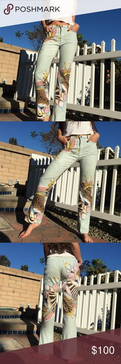 Vintage Roberto Cavalli Printed Denim Vintage baby blue Roberto Cavalli graphic printed jeans. Cheetah print / zebra print / ribbon detailing. Says Roberto Cavalli small throughout the print. Mid rise, straight leg. These stretch so they may fit anywhere from a 26-30 depending on desired fit. Made in Italy. Includes security hologram verifying authenticity. Tagged size Medium Measurements laying flat: Waist: 14 in Rise: 10 in Inseam: 30 in  Super cute statement jeans, similar to vintage…