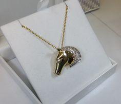 Brosche Anhänger Silber 925 vergoldet Pferd von Schmuckbaron