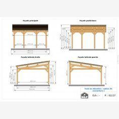 Le plan de votre CARPORT / PRÉAUX / AUVENT sur mesure Plan Carport, Planer, Floor Plans, Car Shed, Wood Construction