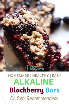 These Blackberry Bars are healthy vegan and alkaline. They have a fresh taste thanks to the homemade blackberry jam recipe and made with only Dr. - Blackberries - Ideas of Blackberries Alkaline Foods Dr Sebi, Alkaline Diet Recipes, Raw Food Recipes, Gourmet Recipes, Dessert Recipes, Drink Recipes, Spelt Recipes, Vegan Food, Vegetarian Recipes