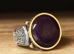 925 K Sterling Silver Man Ring Brown Purple Amethyst 9.75 US Size B18-64238 #eJOYA #Statement