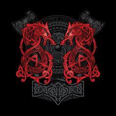 'Fenrir: The Nordic Monster Wolf' Poster by celthammerclub Back Tattoos, Body Art Tattoos, Tribal Tattoos, Sleeve Tattoos, Tattoos For Guys, 3d Tattoos, Geometric Tattoos, Nordic Symbols, Viking Symbols