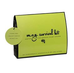 M.O.G. (Mother of the Groom) Survival Kit by @Pinch Provisions. Contains 24 must-haves including: Folding Brush with Mirror, Hair Spray, Bobby Pins, Facial Tissues, Blotting Tissues, Earring Backs, Deodorant Towelette, Adhesive Bandages, Dancing Socks, Waterproof Mascara, Extra Wedding Bands and more! #emergency #survival #kit #wedding #mog #gift