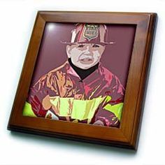 """An adorable little boy dressed in a fire fighter costume - 8x8 Framed Tile by 3dRose. $22.99. Dimensions: 8"""" H x 8"""" W x 1/2"""" D. Cherry Finish. Solid wood frame. Inset high gloss 6"""" x 6"""" ceramic tile.. Keyhole in the back of frame allows for easy hanging.. An adorable little boy dressed in a fire fighter costume Framed Tile is 8"""" x 8"""" with a 6"""" x 6"""" high gloss inset ceramic tile, surrounded by a solid wood frame with pre-drilled keyhole for easy wall mounting.. Save 15%!"""