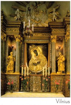 """allaboutmary: """" The altar inside the chapel above the Gate of Dawn in Vilnius, Lithuania. Orishas Yoruba, Lithuania Travel, Blessed Virgin Mary, Mother Mary, Sacred Art, Religious Art, Our Lady, Deities, Marie"""