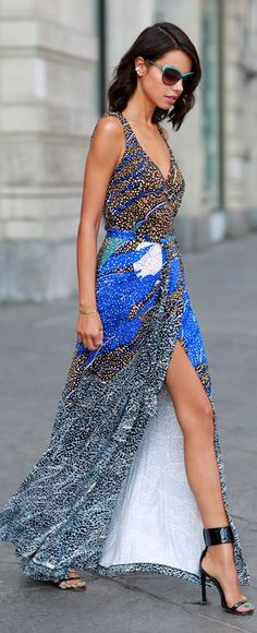 Multi Mix Print Silk Wrap Maxi Tank Dress by Vivaluxury