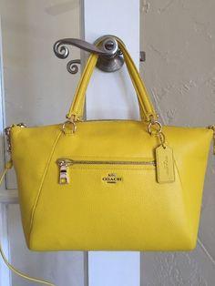 Coach 34340 Pebble Leather Prairie Satchel Yellow Convertible Crossbody   eBay