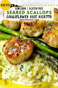 quick keto-friendly and grain-free recipe for seared scallops and parmesan cauliflower risotto. A quick keto-friendly and grain-free recipe for seared scallops and parmesan cauliflower risotto. Cauliflower Rice Risotto, Parmesan Cauliflower, Parmesan Risotto, Recipes For Cauliflower, Califlower Rice, Cauliflower Fried Rice, Arroz Risotto, Comida Keto, Risotto